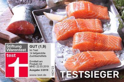 Der Testsieger von eismann im Test 3/2018 bei 14 getesteten Tiefkühl-Zuchtlachsfilets.