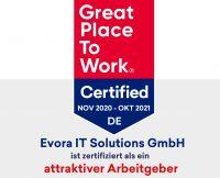 """Evora für 2021 als """"Great Place To Work"""" re-zertifiziert"""