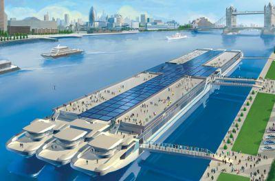 Blick auf die künftigen Expohanse-Schiffe