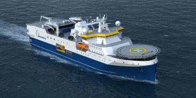 Modell eines Seismik-Schiffes von Western Geco, das von der FSG gebaut wird. Foto: FSG