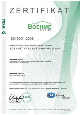 Belegt die konsequente Umsetzung des Qualitätsmanagements – die Zertifizierung gemäß DIN EN ISO 9001:2008. (Foto: Boehme Systems)