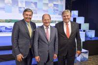 Michael Behrendt (Vorstandsvors. Hapag Lloyd), Olaf Scholz (1. Bürgermeister Hansestadt Hamburg), Henrik O. Madsen (CEO DNV GL)
