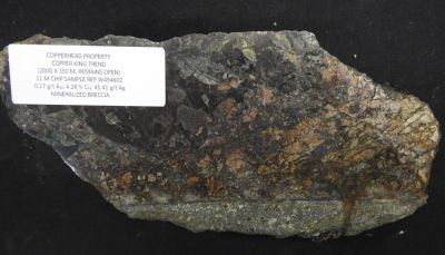 Erz vom Copperhead-Projekt; Foto: Goliath Resources