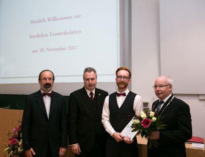 v.l.n.r.:Prof.Dr. Matthias Krause HfTL, Dipl.-Ing. Heinz Leymann IfKom, B. Eng. Hans Christian Rudolph, Prof.Dr. Volker Saupe HfTL