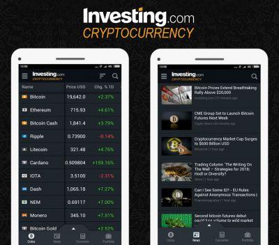 App für Kryptowährungen von Investing.com