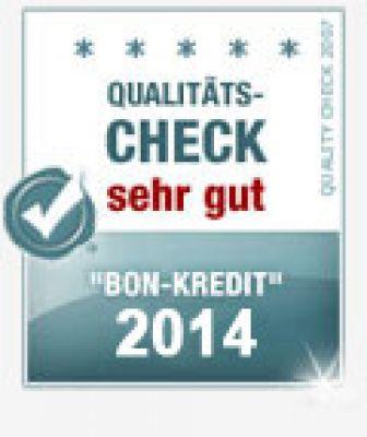 "Bon-Kredit trotz negativer Schufa ist TESTSIEGER der Kategorie ""Kredit OHNE Schufa"" des Monats Juni 2014!"