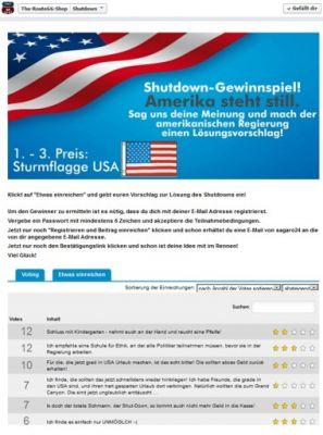 Shutdown - das Gewinnspiel zur amerikanischen Haushaltskrise.
