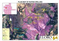 Abbildung: Karte mit den ersten abgeschlossenen Probebohrungen-Orten und Richtung im Rufina Zielgebiet