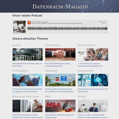 Die Startseite listet übersichtlich Aktuelles rund um das Thema Datenräume auf