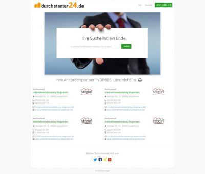 Ein kurzer Blick auf die Startseite von www.durchstarter24.de, mit einigen Suchergebnissen
