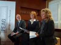 v.l.n.r.: Poul Eigil Scheuer, Martina Fietz, und Beate Müller-Gemmeke, auf der PEAG PERSONALDEBATTE zum FRÜHSTÜCK in Berlin