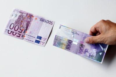 Parität zwischen CHF unf EUR nach Aufhebung des Mindestkurses durch die SNB.