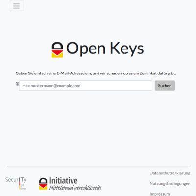 Vereinfachte Schlüsselabfrage mit Open Keys bei der E-Mail-Verschlüsselung
