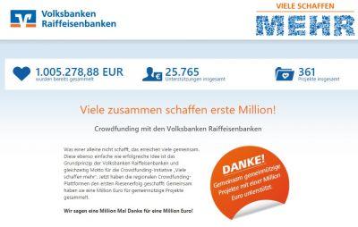 """Crowdfunding-Plattform """"Viele-schaffen-mehr.de"""" - am 3. Juli 2015 wurde die Spendensumme von einer Millionen Euro erreicht"""
